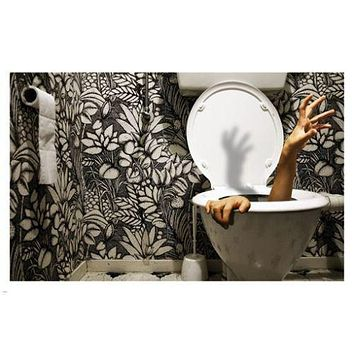 HANDS REACHING out of the toilet bowl POSTER 24X36 FUNNY hilarious bathroom