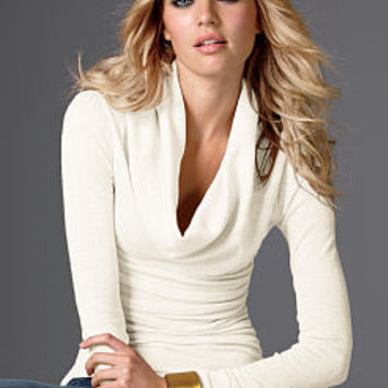 Ruched Cotton Cowlneck Sweater - Victoria's Secret