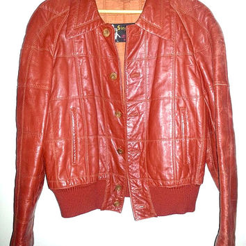 VINTAGE LEATHER JACKET by Siegfried of Barcelona Made in Spain Finest Sports and Leisure Wear Button up Jacket Color Red