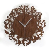 ZLYC 12 Inch Modern Vintage Cute Forest Animals Wood Tone Wall Clock Home Decor