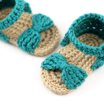 Crochet Baby Bow Sandals // Teal and Tan // Baby Girl Sandals // 0 to 3 Months