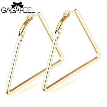 GAGAFEEL Triangle Earring Women Ear Jewelry Big Circle Geometric Hoop Earrings  Design Cooper Gold Color Party Accessories