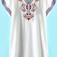 White Embroidered V-Neck Short Sleeve Dress
