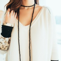Brielle Double Wrap Necklace -Black