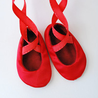 Red Baby Ballerina Slippers by babycricket on Etsy
