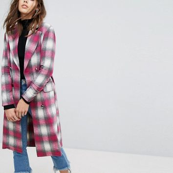 PrettyLittleThing Longline Check Coat at asos.com
