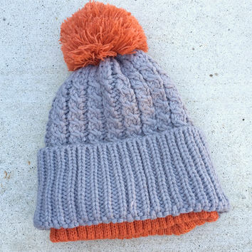 Gray & Orange Cable Knit Beanie