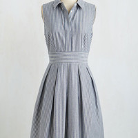 Nautical Long Sleeveless A-line Pleat and Tidy Dress