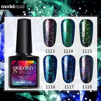 Modelones Shiny galaxy Nail Gel Polish Colorful Glitter Gel Polish UV Soak Off Gel Nail Polish Need UV Led Lamp Nail Gelpolish