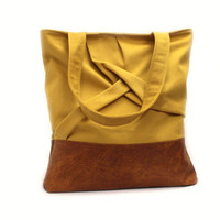 Mustard Tote Bag, Origami Bag, Urban Tote Bag, Saffron Shoulder Bag, Vegan Leather Tote, Casual Canvas Bag, Yellow Handbag,Everyday Hand Bag