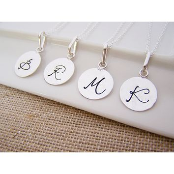 Silver Script Hand Stamped Initial Personalized Sterling Silver Necklace