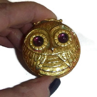 Vintage Owl Compact, Vintage Revlon Perfume Compact, 70's Solid Perfume Compact Case, Purple Glass Jeweled Compact, 1970's Kitsch Owl Beauty