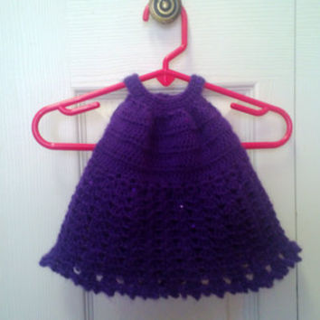 Ready to ship, Crochet Baby, Girls Sequined Pleated Halter Top Size 0-6 Months