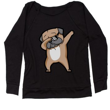 Dabbing Pug With Sunglasses Slouchy Off Shoulder Oversized Sweatshirt