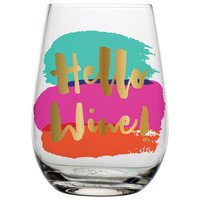 "SLANT COLLECTIONS ""HELLO WINE"" STEMLESS WINE GLASS"