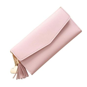 Women Simple Long Wallet Tassel Coin Purse Card Holders Handbag wallet women leather wallets male purse money carteira  A0527#30
