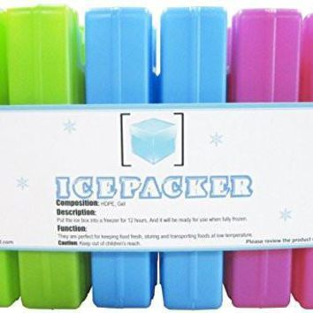 Ice Packs (6 Pcs) - Cool Reusable Freezer Pack - Keeps Food Cold & Fresh - Compact Ice Pack for Lunch box, Chillers For Healthy Kids Snack, Cooler Bag