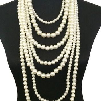 Multi Layered Necklace Set with Earrings - 1 1/2 Inch Thick