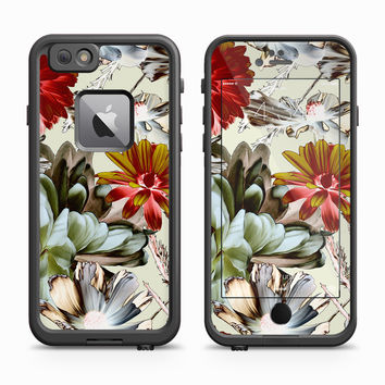 Red and White Chrysanthemum Floral Design Skin for the Apple iPhone LifeProof Fre Case