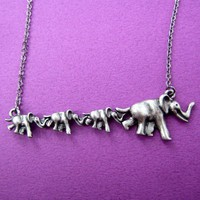 Elephant Animal Charm Necklace in Silver