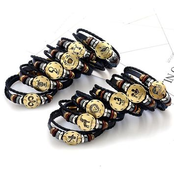 Zodiac Signs Braided Genuine Leather Bracelet