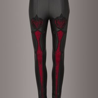 After Midnight Punk Rave Faux Leather Leggings with Lace