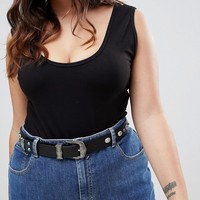 ASOS CURVE Turquoise Stone Western Jeans Belt at asos.com