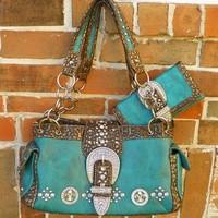 Rustic Coutures by Montana West Teal & Bronze Purse Handbag Wallet Bling Belt