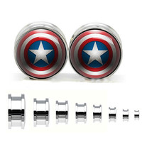 Hero stainless steel ear gauge, silvery tunnel plugs,Stainless Steel Screw Ear Gauges, Flesh Tunnels Plugs,plugs und tunnel