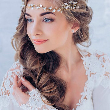 Wedding Hair Vine Crystal Hair Vine Wedding Hair Piece Bridal HeadBand Wedding Rhinestone Vine Halo Bridal Crystal Glass Crystal Halo Vine