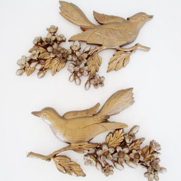 Bird Wall Hanging Mid-Century 3D Plastic Gold Bird Wall Art Hollywood Regency Wall Decor Syroco Gold Birds and Dogwood Branches Set of 2