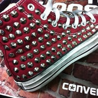 Studded Converse, Converse Burgundy High Top with silver cone rivet studs by CUSTOMDUO on ETSY