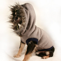 Dog coat Charcoal and Navy Fleece w fur Trimmed Hood RESERVED for Kara-ann