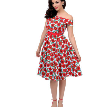Hell Bunny 1950s Style Baby Blue & Red Cordelia Poppy Print Belted Swing Dress