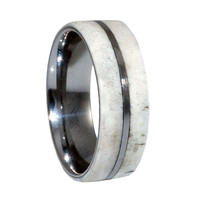 Deer Antler Tungsten Wedding Bands for hunters, man and woman