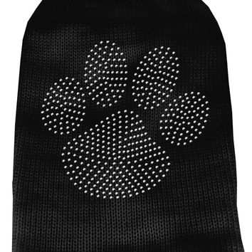 Clear Rhinestone Paw Knit Pet Sweater Sm Black