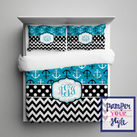 Nautical Anchor Comforter or Duvet - Anchor and Chevron Turquoise and Black Bedding - Personalize with Name or Monogram - Create your Bed