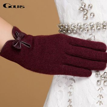 Gours Winter Women Wool Cashmere Gloves Fall 2017 New Fashion Brand Mittens Black Warm Driving Gloves 3-Style 4-Color GSL059