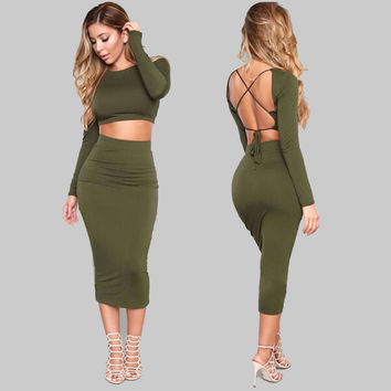 2 Piece Set Cotton Bodycon Dress