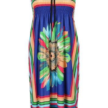 Blue Halter Contrast Stripe And Daisy Print A-line Dress