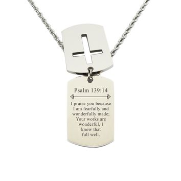 Mens Scripture Double Tag Necklace - Psalm 139:14