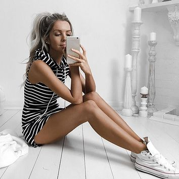Cool Summers - Striped Hoodie-Dress