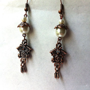 pearl and copper antiqued inspired coo coo clock earrings, vintage style earrings, dangle earrings, gifts for her