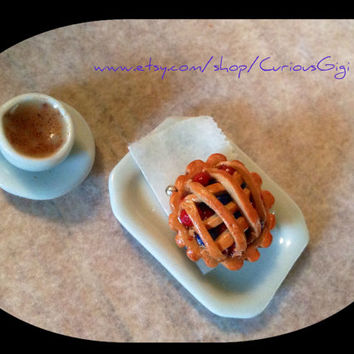Mini Pie hand sculpted polymer clay jewelry charm - doll house and miniatures art