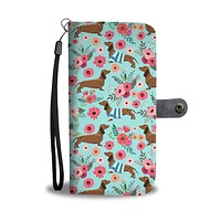 Dachshund Flower Wallet Phone Case