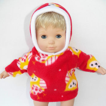 """American Girl Bitty Baby Clothes 15"""" Doll Clothes Red Yellow Hooded Jacket Hoodie Owl Polar Fleece"""