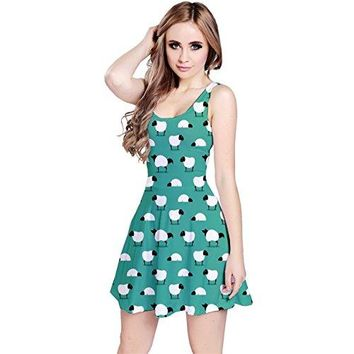 CowCow Womens Green Wolf in Sheeps Clothing Wolf Dressed Sleeveless Skater Dress