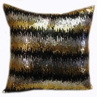 Decorative Sequins Throw Pillow 17x17'' Gold/silver/black