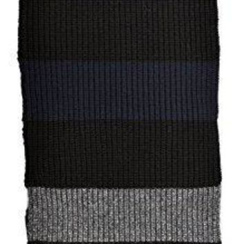 Givenchy Extra Long Black Navy And Gray Vertically Striped Thick Knit Long Scarf 50% Wool + Other Blend