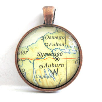 Syracuse New York Pendant from Vintage Map in by CarpeDiemHandmade